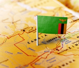 Zambia pinned on the map with flag